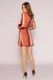 Mauve Striped Long Sleeve Wrap Dress by Lavender Brown 002