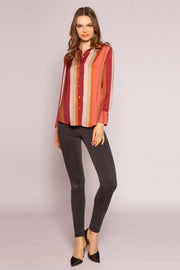 Mauve Striped Button Down Shirt by Lavender Brown 001
