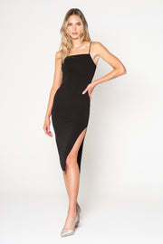 Black Square Neck Midi Tank Dress by Lavender Brown 001