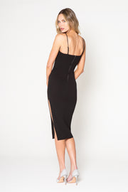 Black Square Neck Midi Tank Dress by Lavender Brown 002