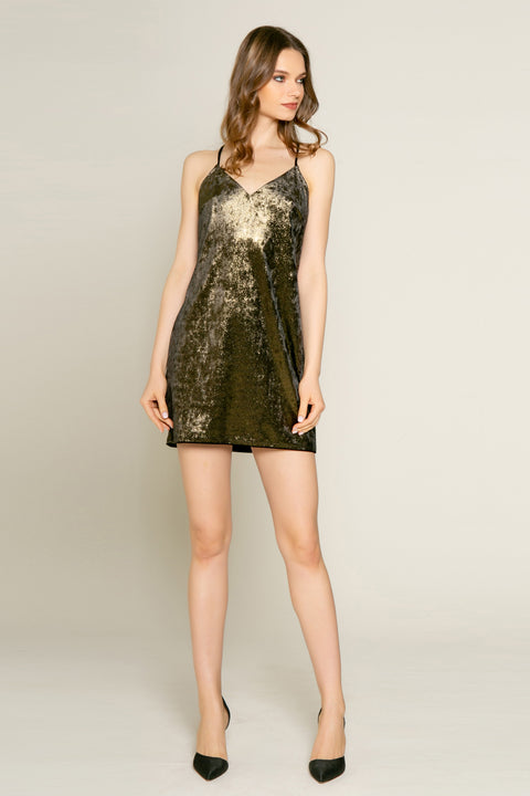 Gold Lurex Knit Mini Slip Dress by Lavender Brown 001