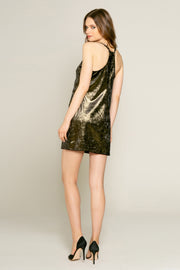 Gold Lurex Knit Mini Slip Dress by Lavender Brown 002