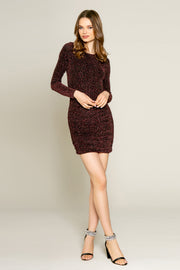 Pink Lurex Knit Long Sleeve Bodycon Dress by Lavender Brown 001