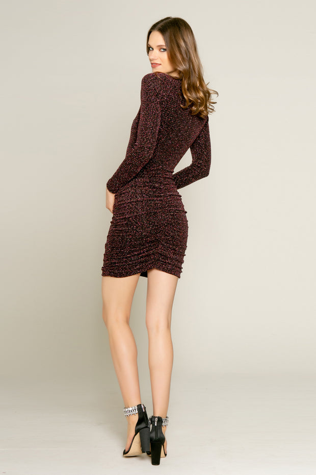 Pink Lurex Knit Long Sleeve Bodycon Dress by Lavender Brown 002