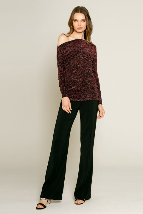 Pink Off the Shoulder Lurex Knit Blouse by Lavender Brown 001