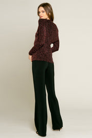 Pink Off the Shoulder Lurex Knit Blouse by Lavender Brown 002