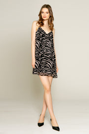 Black Zebra Mini Slip Dress by Lavender Brown 001