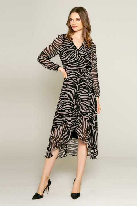 Black Zebra Long Sleeve Midi Wrap Dress by Lavender Brown 001