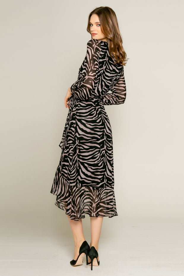 Black Zebra Long Sleeve Midi Wrap Dress by Lavender Brown 002