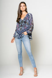 Long Sleeve V Neck Top 001