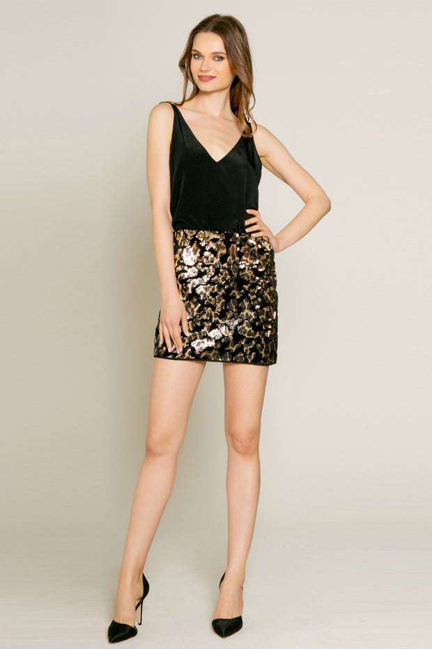 Velvet With Printed Sequin Mini Skirt by Lavender Brown 001
