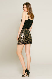Velvet With Printed Sequin Mini Skirt by Lavender Brown 002