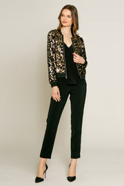 Velvet With Printed Sequin Blouson Jacket Jacket by Lavender Brown 001