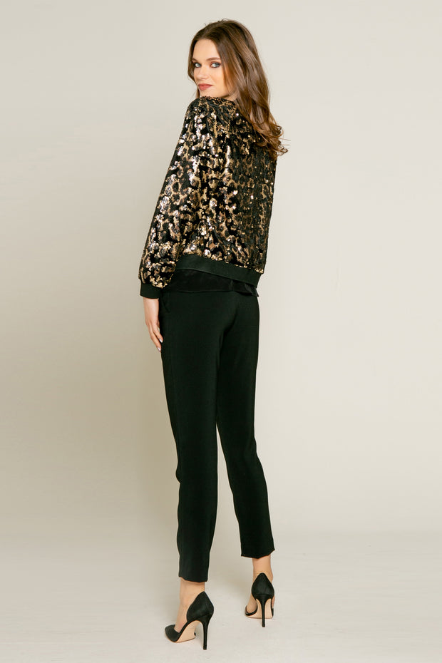 Velvet With Printed Sequin Blouson Jacket Jacket by Lavender Brown 002