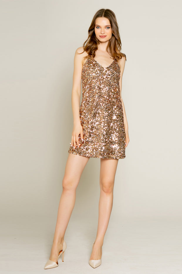 Rose Gold Nylon Sequin Mini Slip Dress by Lavender Brown 001