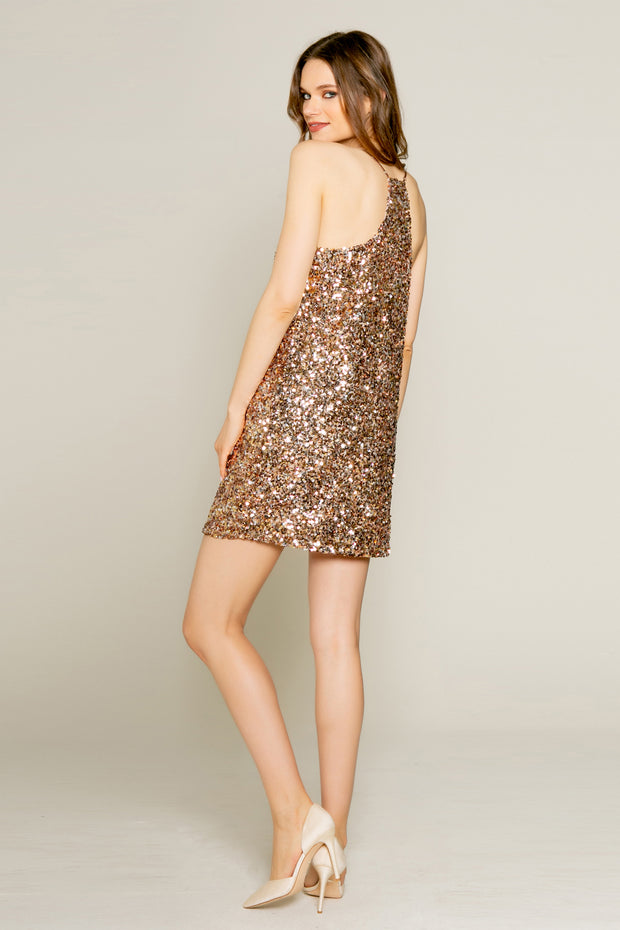 Rose Gold Nylon Sequin Mini Slip Dress by Lavender Brown 002