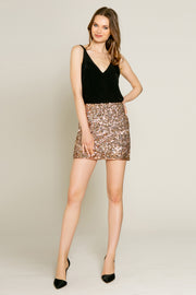 Rose Gold Nylon Sequin Mini Skirt by Lavender Brown 001