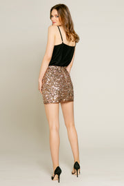 Rose Gold Nylon Sequin Mini Skirt by Lavender Brown 002