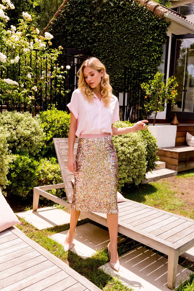 Sparkly Pink / Gold Sequin Midi Skirts-Skirts-Lavender Brown