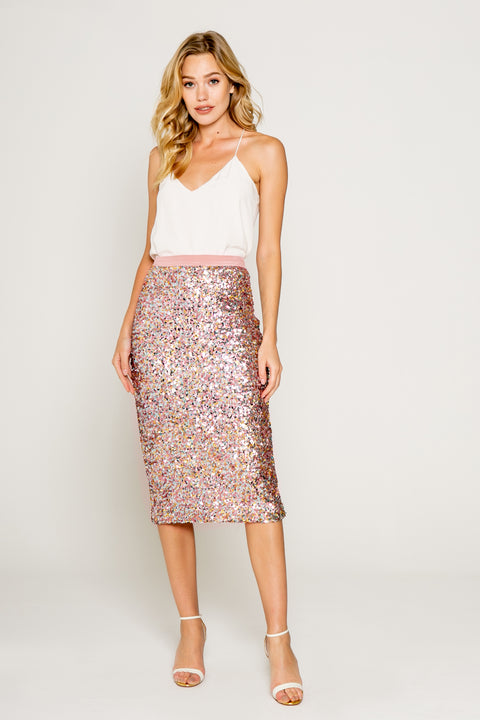Sparkly Pink/gold Sequin Midi Skirts 01