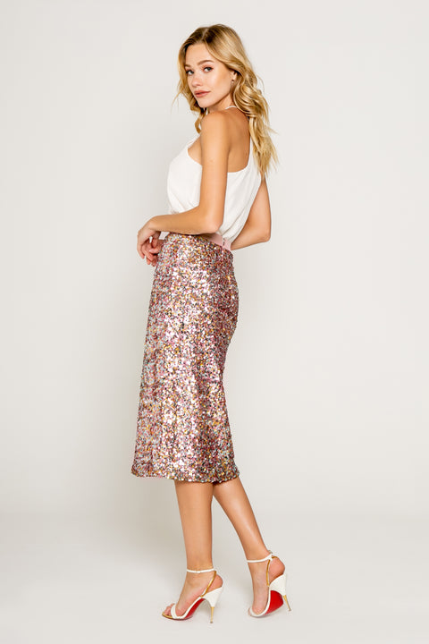 Sparkly Pink/gold Sequin Midi Skirts 02