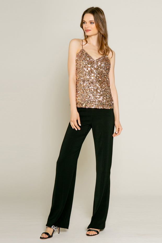 Rose Gold Nylon Sequin Tank by Lavender Brown 001