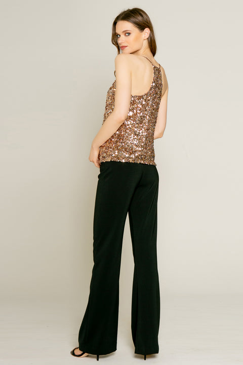 Rose Gold Nylon Sequin Tank by Lavender Brown 002