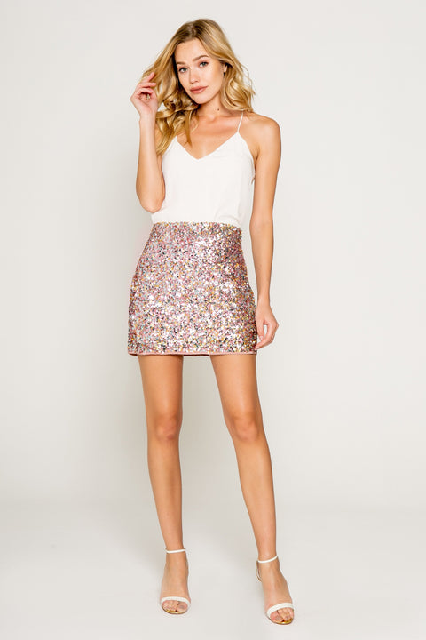 Sparkly Pink/gold Sequin Mini Skirt 01
