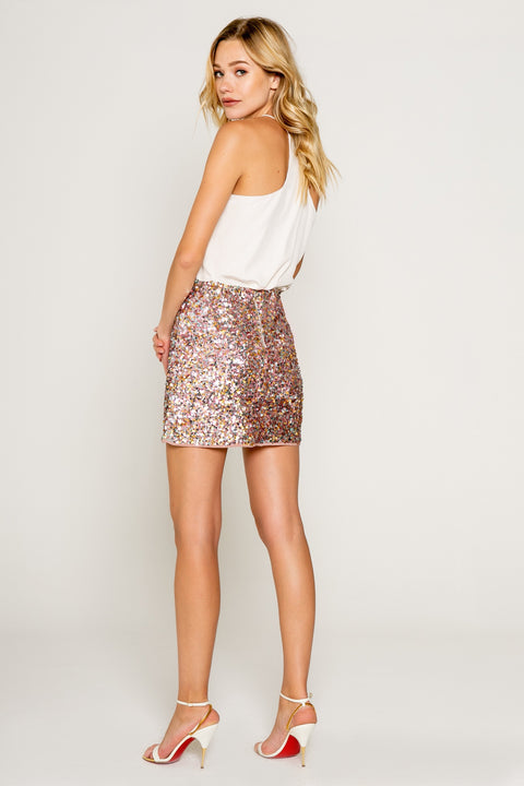 Sparkly Pink/gold Sequin Mini Skirt 02