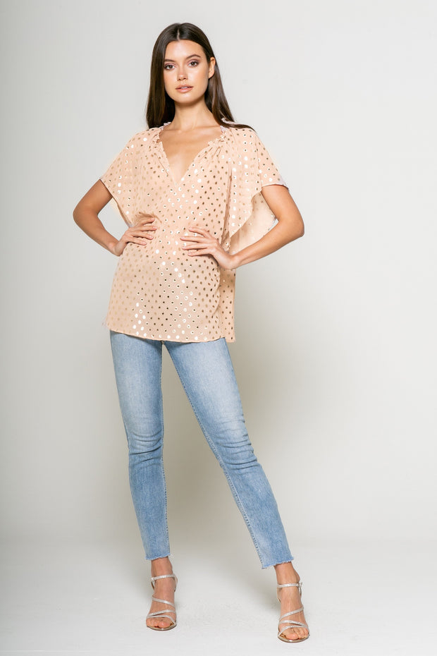 Foil Dot Printed Short Sleeve Top - 001