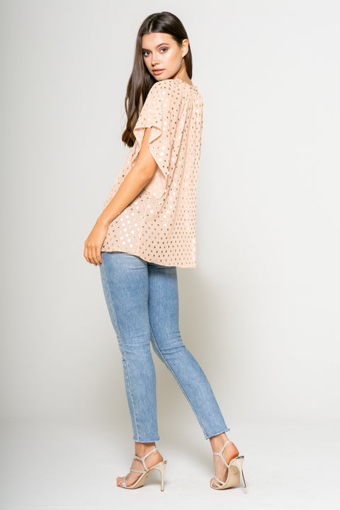 Foil Dot Printed Short Sleeve Top - 002