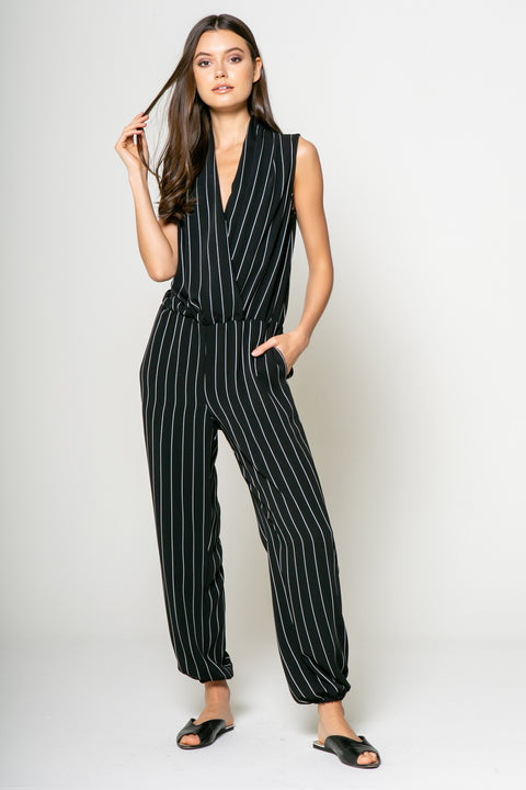 Stripe Sleeveless Jumpsuit - 001