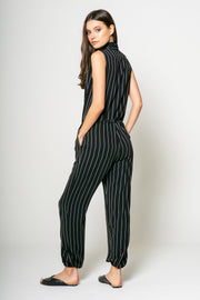 Stripe Sleeveless Jumpsuit - 002