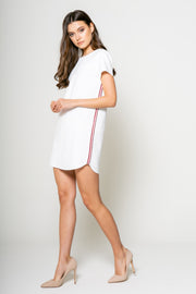 Shirt Mini Dress With Tape White Front