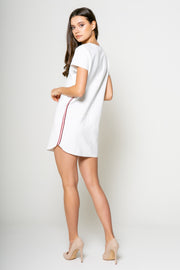 Shirt Mini Dress With Tape White Back