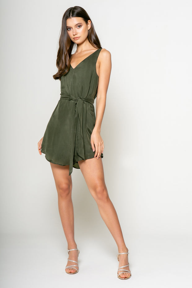 Sleeveless Tank Dress With Tie - 001