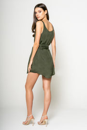 Sleeveless Tank Dress With Tie - 002
