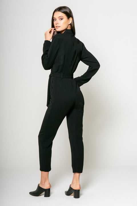 Long Sleeve Jacket Jumpsuit w/self Belt 2