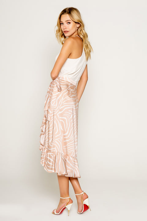 ZEBRA PRINTED RUFFLED HEM WRAP SKIRT