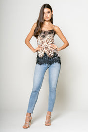 Lace Trim Cami in Leopard - 001