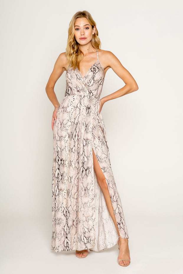 SNAKE PRINTED SPAGHETTI STRAP WRAP MAXI DRESS-DRESSES-Lavender Brown