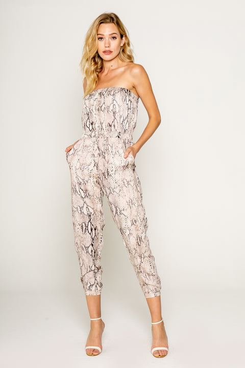 Snake Printed Sexy Tube Jumpsuit 01