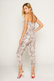 Snake Printed Sexy Tube Jumpsuit 02