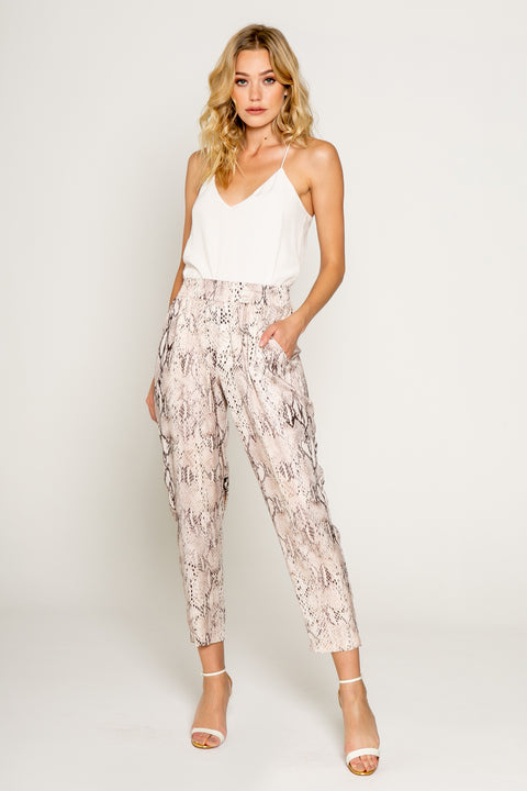 Effortless Chic Snake Print Pull on Joggers 01