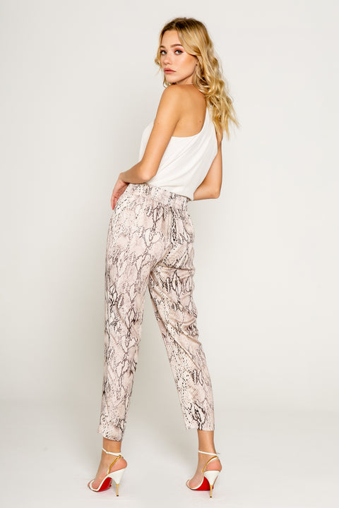 Effortless Chic Snake Print Pull on Joggers 02