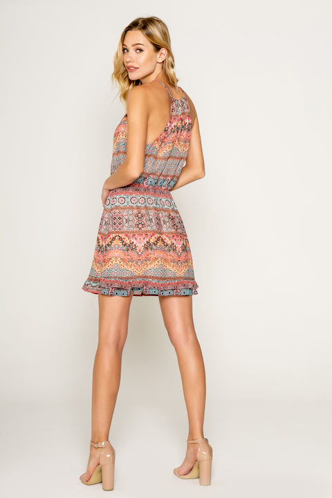 Ethnic Floral Printed Mini Dress With Ruffle Hem