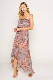Ethnic Floral Printed Tube Maxi Dress With Ruffle