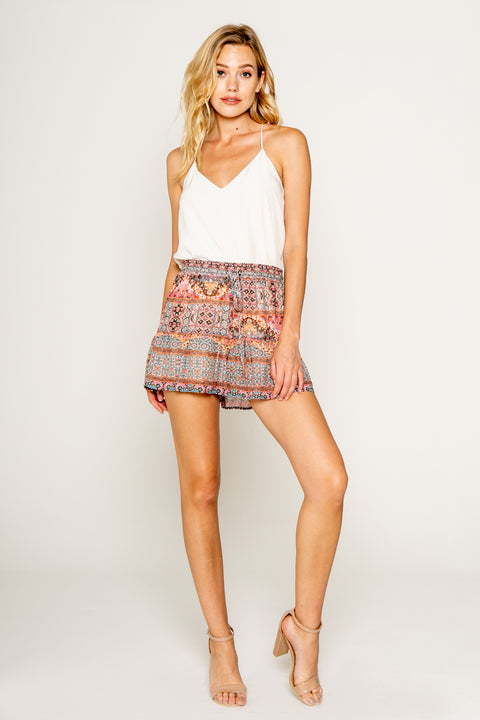 Ethnic Floral Printed Shorts With Ruffle-Shorts-Lavender Brown