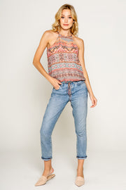 Ethnic Floral Printed Sleeveless Crop Top With Tie at Waist-Tops-Lavender Brown
