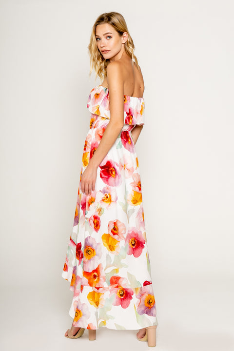 Watercolor Floral Printed Tube Maxi Dress